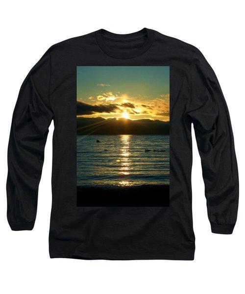 Sunset Over Lake Tahoe Long Sleeve T-Shirt by Ellen Heaverlo