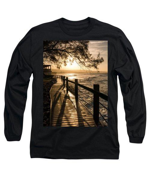 Sunset Over Ocean Walkway Long Sleeve T-Shirt