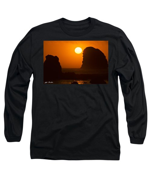 Sunset Over The Pacific Ocean With Rock Stacks Long Sleeve T-Shirt by Jeff Goulden