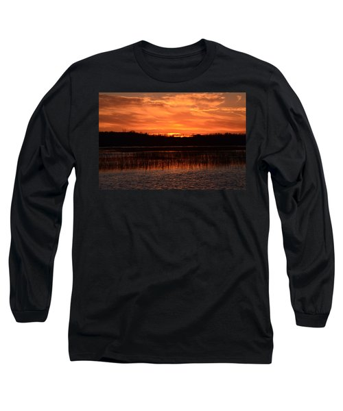 Sunset Over Tiny Marsh Long Sleeve T-Shirt by David Porteus