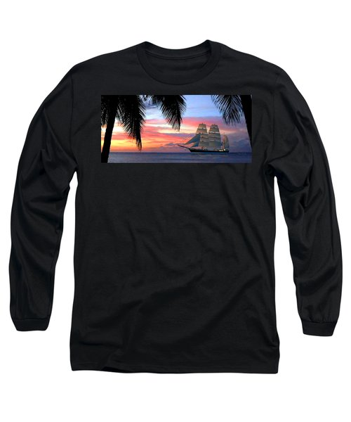 Sunset Sailboat Filtered Long Sleeve T-Shirt