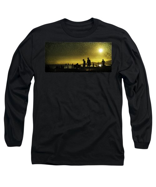 Long Sleeve T-Shirt featuring the photograph Sunset Silhouette Of People At The Beach by Peter v Quenter