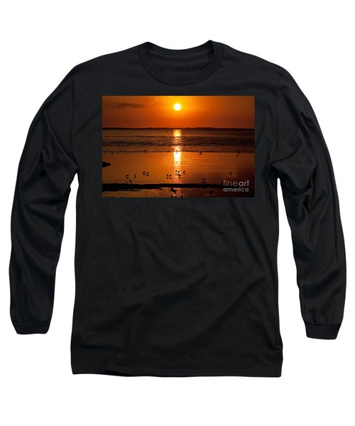 Long Sleeve T-Shirt featuring the photograph Sunset With The Birds Photo by Meg Rousher