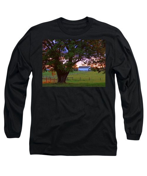 Sunset With Tree Long Sleeve T-Shirt by Joseph Skompski