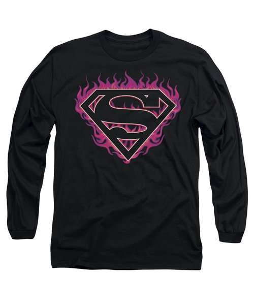 Superman - Fuchsia Flames Long Sleeve T-Shirt