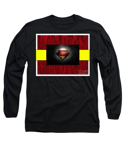 Long Sleeve T-Shirt featuring the mixed media Superman by Marvin Blaine
