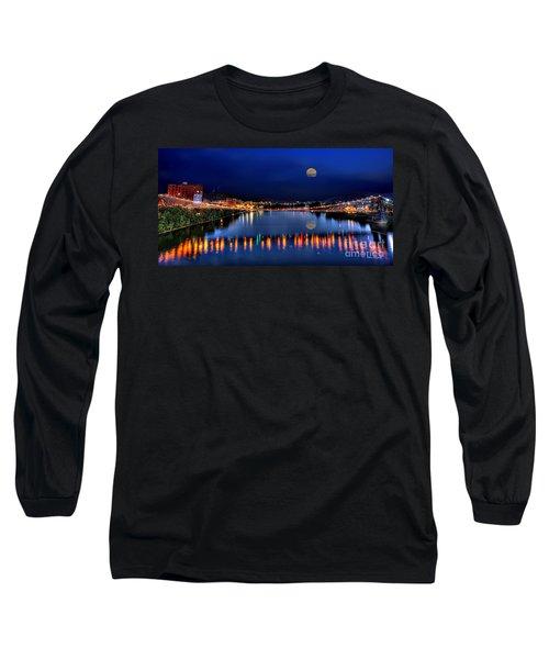 Suspension Bridge Wheeling Wv Panoramic Long Sleeve T-Shirt