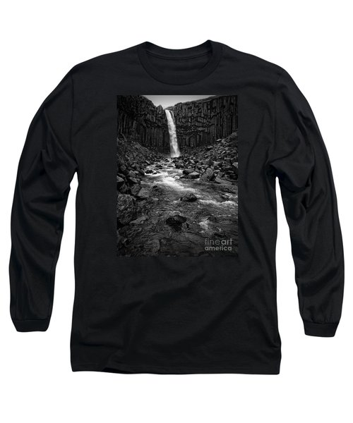 Svartifoss Waterfall In Black And White Long Sleeve T-Shirt