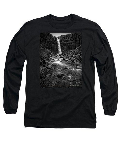 Svartifoss Waterfall In Black And White Long Sleeve T-Shirt