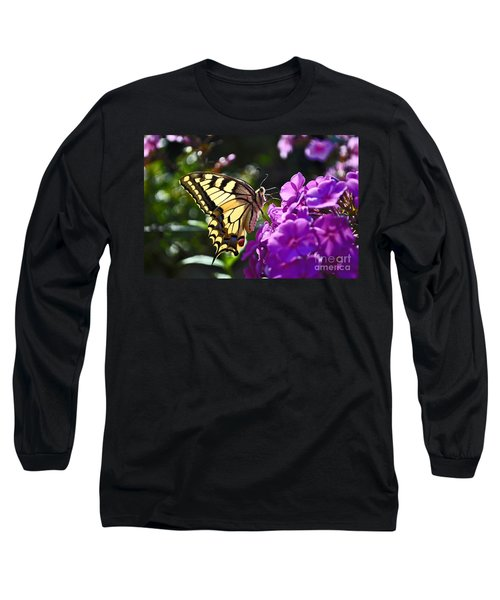 Long Sleeve T-Shirt featuring the photograph Swallowtail On A Flower by Maja Sokolowska