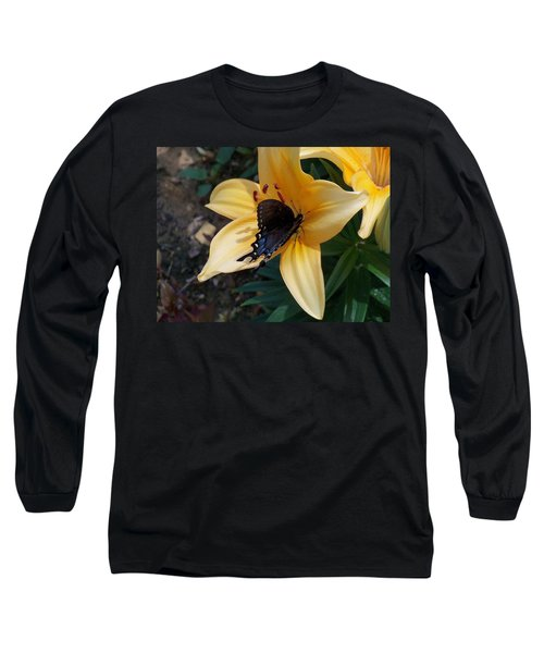 Long Sleeve T-Shirt featuring the photograph Swallowtail On Asiatic Lily by Kathryn Meyer