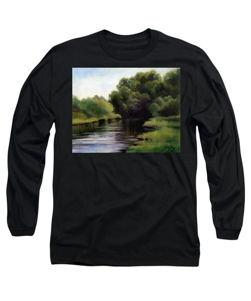 Long Sleeve T-Shirt featuring the painting Swan Creek by Janet King