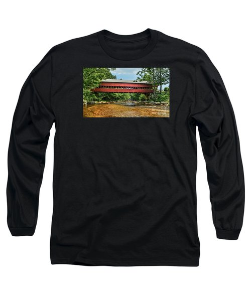 Long Sleeve T-Shirt featuring the photograph Swift River Covered Bridge Hew Hampshire by Debbie Green