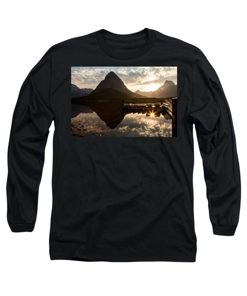 Swiftcurrent Lake Boats Reflection And Flare Long Sleeve T-Shirt