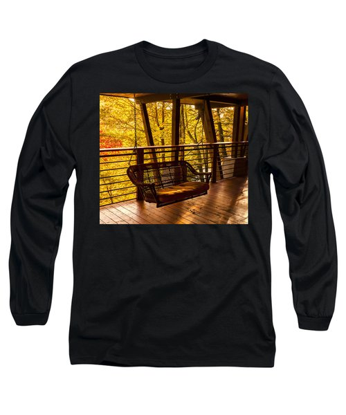 Swinging In Autumn Trees Original Photograph Long Sleeve T-Shirt by Jerry Cowart