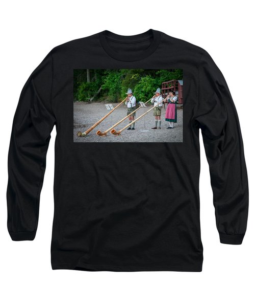 Swiss Alpine Horns Lake Mcdonald Glacier National Park Long Sleeve T-Shirt
