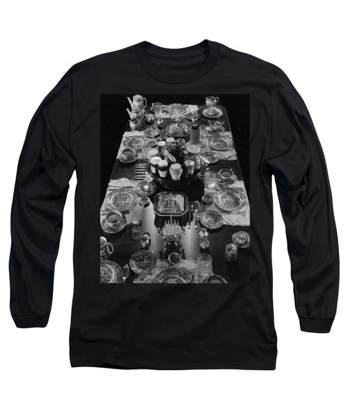 Table Settings On Dining Table Long Sleeve T-Shirt