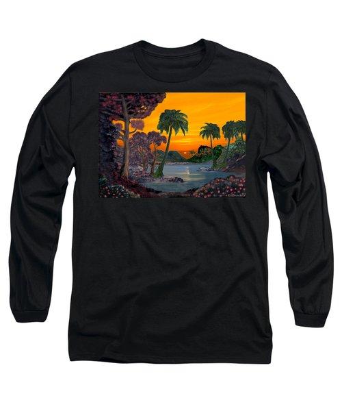 Tahitian Sunset Long Sleeve T-Shirt by Glenn Holbrook