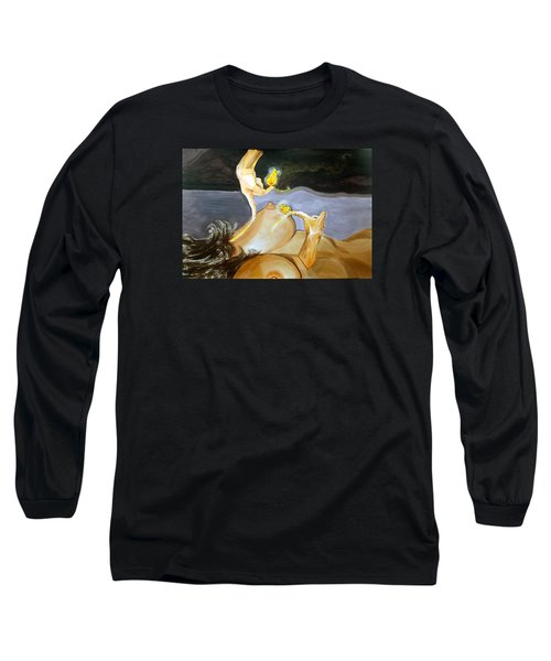 Long Sleeve T-Shirt featuring the painting Takeoff The Touch Despegue Del Tacto by Lazaro Hurtado