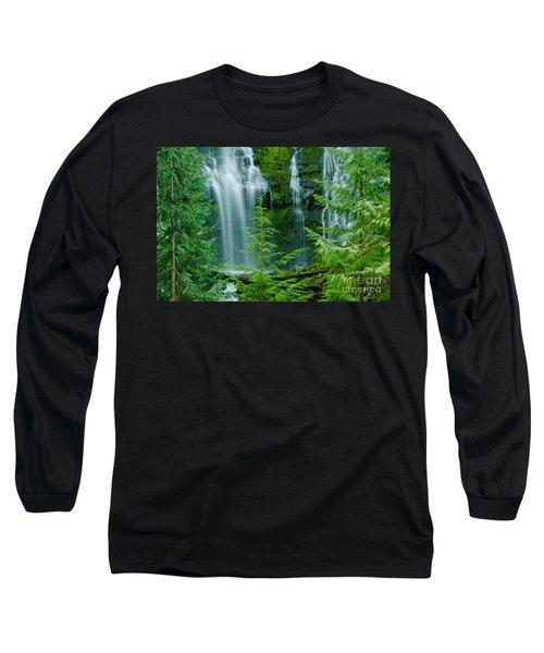 Pacific Northwest Waterfall Long Sleeve T-Shirt by Nick  Boren