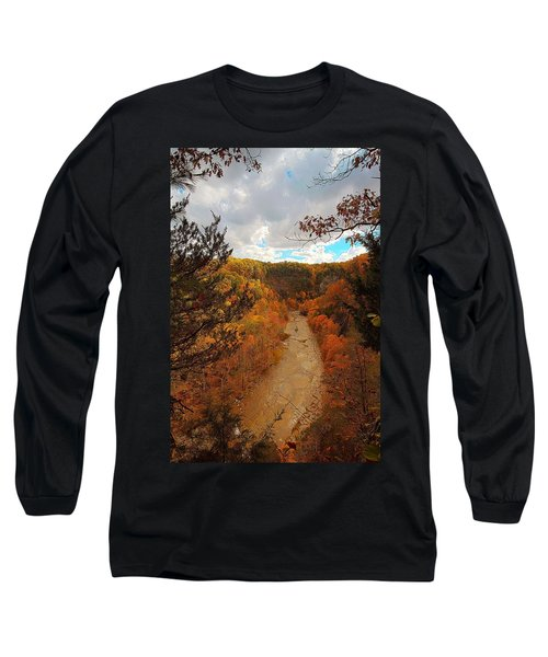 Long Sleeve T-Shirt featuring the painting Taughannock River Canyon In Colorful Fall Ithaca New York IIi by Paul Ge