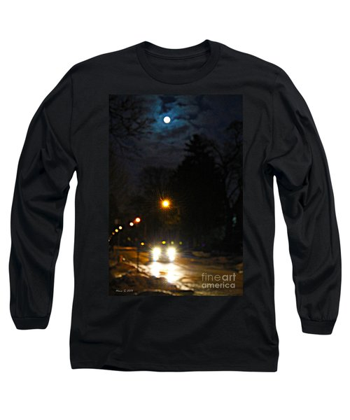 Long Sleeve T-Shirt featuring the photograph Taxi In Full Moon by Nina Silver