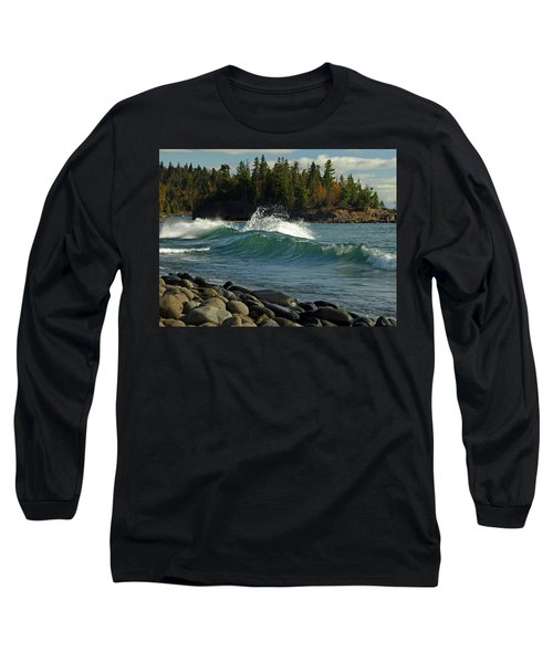 Teal Blue Waves Long Sleeve T-Shirt by Melissa Peterson
