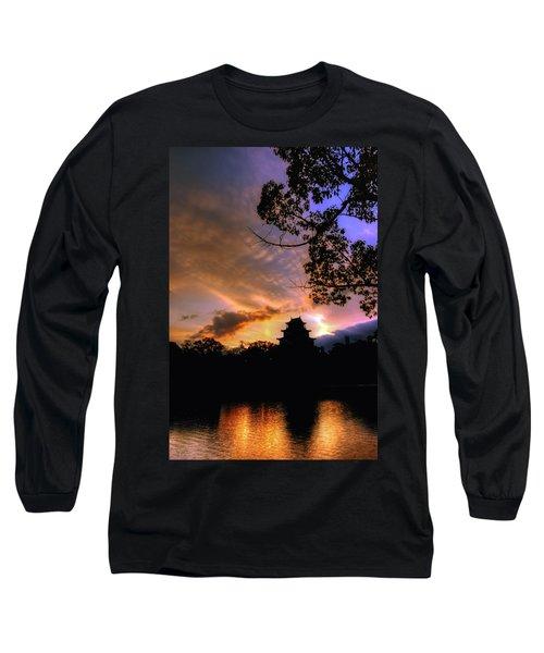 A Temple Sunset Japan Long Sleeve T-Shirt by John Swartz