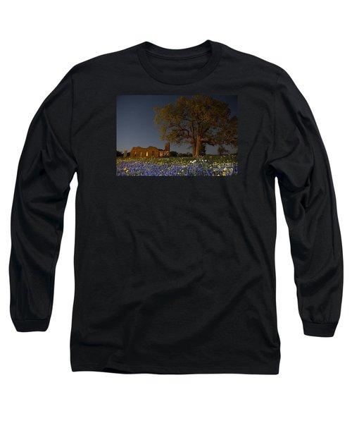 Texas Blue Bonnets At Night Long Sleeve T-Shirt by Keith Kapple