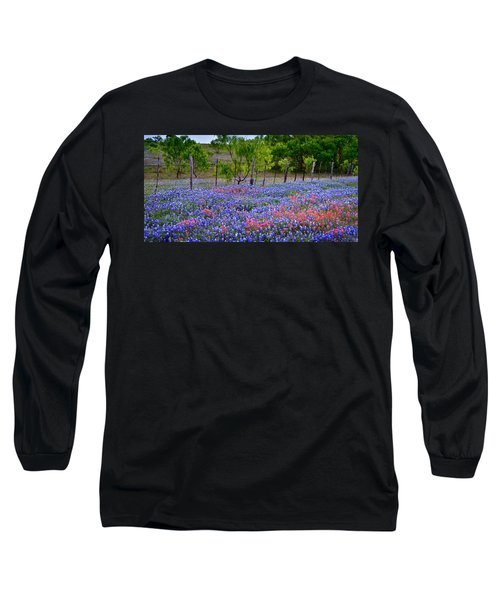 Long Sleeve T-Shirt featuring the photograph Texas Roadside Heaven -bluebonnets Paintbrush Wildflowers Landscape by Jon Holiday