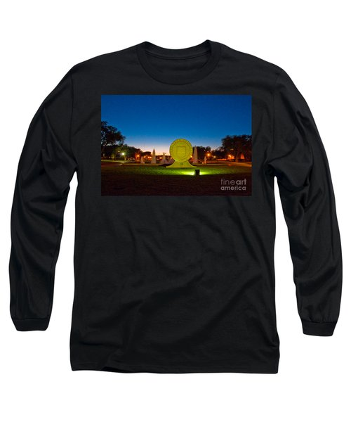 Long Sleeve T-Shirt featuring the photograph Texas Tech Seal At Night by Mae Wertz