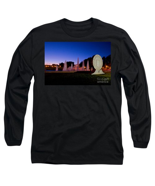 Long Sleeve T-Shirt featuring the photograph Texas Tech University Seal And Blue Sky by Mae Wertz