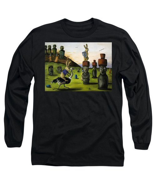 The Battle Over Easter Island Long Sleeve T-Shirt by Leah Saulnier The Painting Maniac