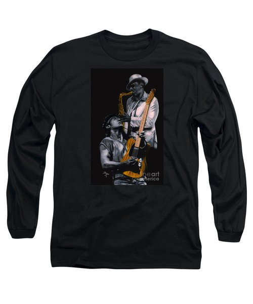 Bruce Springsteen And Clarence Clemons Long Sleeve T-Shirt by Thomas J Herring