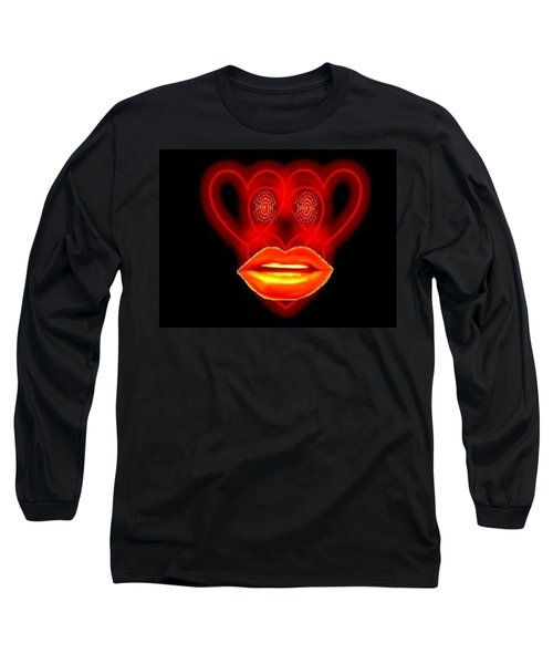 Long Sleeve T-Shirt featuring the digital art The Broadcast Monkey Hearts by Catherine Lott