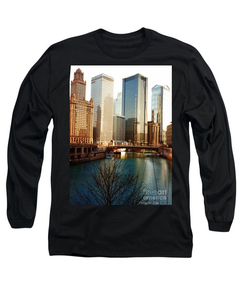 Long Sleeve T-Shirt featuring the photograph The Chicago River From The Michigan Avenue Bridge by Mariana Costa Weldon
