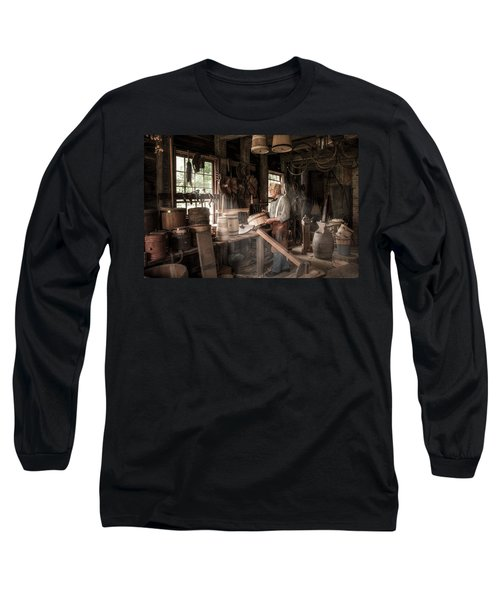 Long Sleeve T-Shirt featuring the photograph The Cooper - 19th Century Artisan In His Workshop  by Gary Heller