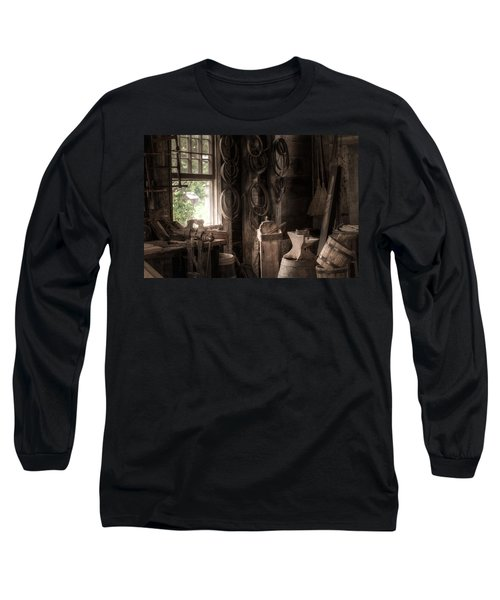 Long Sleeve T-Shirt featuring the photograph The Coopers Window - A Glimpse Into The Artisans Workshop by Gary Heller