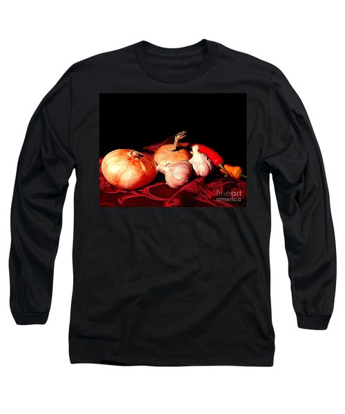 New Orleans Onions, Garlic, Red Chili Pepper Used In Creole Cooking A Still Life Long Sleeve T-Shirt by Michael Hoard