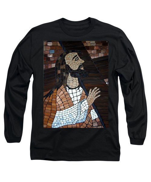 Long Sleeve T-Shirt featuring the painting The Cross by Cynthia Amaral