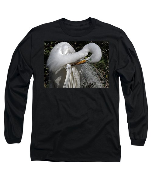 The Elegant Egret Long Sleeve T-Shirt by Lydia Holly