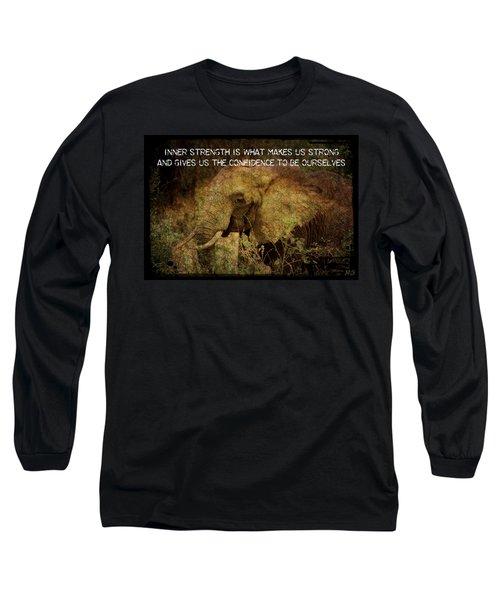 The Elephant - Inner Strength Long Sleeve T-Shirt by Absinthe Art By Michelle LeAnn Scott