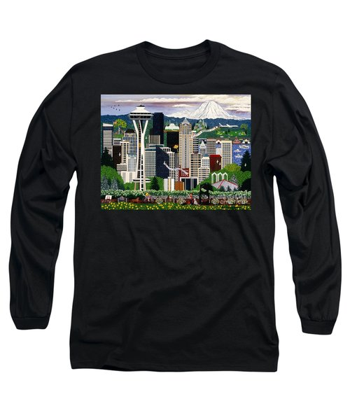 Long Sleeve T-Shirt featuring the painting The Emerald City Seattle by Jennifer Lake