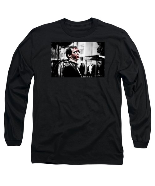 Long Sleeve T-Shirt featuring the photograph The Fake Zombie Robot by Stwayne Keubrick