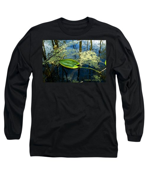 Long Sleeve T-Shirt featuring the photograph The Floating Leaf Of A Water Lily by Verana Stark