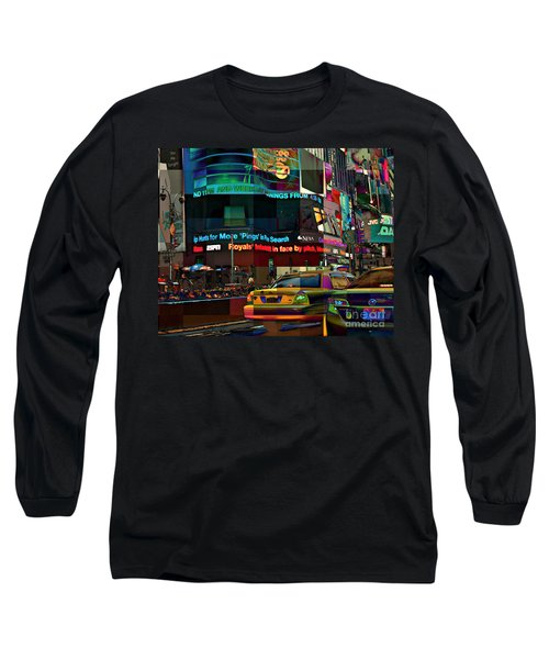 The Fluidity Of Light - Times Square Long Sleeve T-Shirt by Miriam Danar