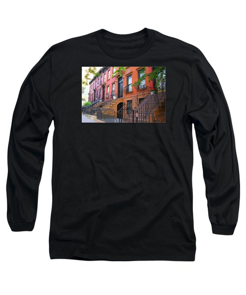 The Historic Brownstones Of Brooklyn Long Sleeve T-Shirt by Dora Sofia Caputo Photographic Art and Design