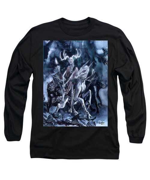 Long Sleeve T-Shirt featuring the painting The Horned King 2 by Curtiss Shaffer