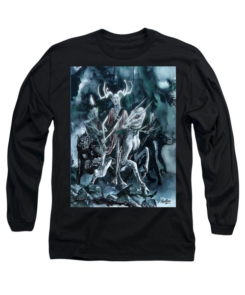 Long Sleeve T-Shirt featuring the painting The Horned King by Curtiss Shaffer