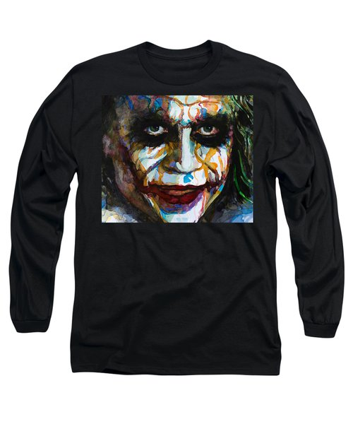 Long Sleeve T-Shirt featuring the painting The Joker - Ledger by Laur Iduc